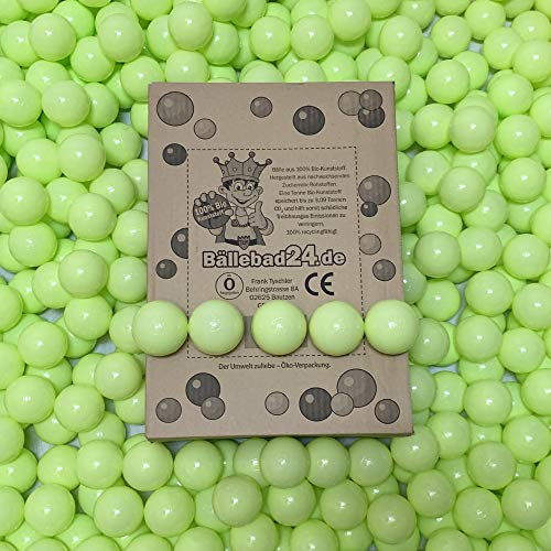 100 bolas de plástico ecológico para piscina de bolas de caña de azúcar renovable, materias primas, 6 cm de diámetro, para guarderías y comerciales, color verde claro