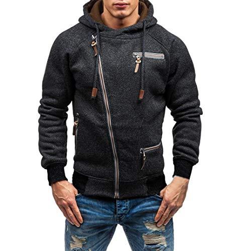 URSING Herren Herbst Langarm Kapuzen-Sweatshirt Outwear Tops Bluse Pullover mit Reißverschluss Slim fit Jacke mit Kapuze Sport Hoodie Sweatshirt Kapuzenpullover Übergangsjacke (Schwarz,XL)