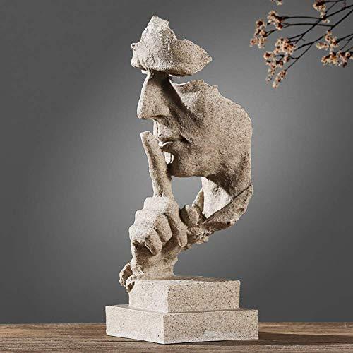 Harz abstrakte Skulptur Statue, Moderne Denker Figur Handwerk Kunst Figur für Home Office Bücherregal Desktop Fotografie Dekor weiß 13x12x35cm