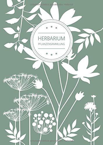 Herbarium Pflanzensammlung: Herbarium Leer A4 - Pflanzen Sammeln, Bestimmen, Aufbewahren - 110 Seiten Papier Weiß - Pflanzenbestimmung - Motiv: Blumen Blüten Muster Natur Grün