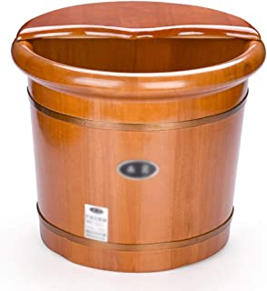 Qing MEI Massage Foot Bath Barrel Household Foot Bath Barrel Foot Bath Tub Oak Foot Bath Wooden Foot Therapy 35cm Basin A++