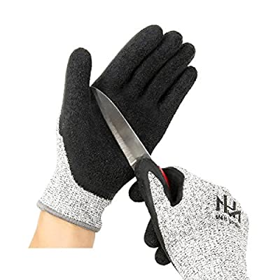 Cut Resistant Level 5 Work Gloves, Textured Latex Coated Nylon Safety Protective Gloves for Garden, Warehouse, Repairment, Wood Cutting, 1 pair