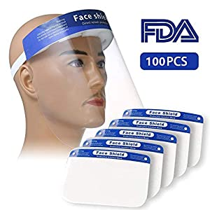 100PCS Plastic Face Shield Protect Eyes and Face with Full Protective Clear Film Elastic Band and Comfort Sponge Dental Face Shield for Men Women