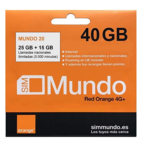 Orange - Tarjeta SIM Prepago (Mundo-20) - 40 GB en España | Llamadas Nacionales 5000 Minutos | Activación Online | 9,5 GB Roaming en Europa | Velocidad 4G