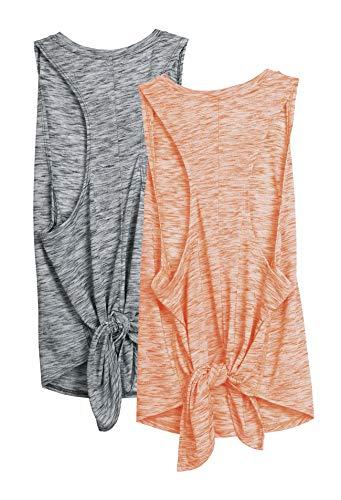 icyzone Damen Sport Yoga Tank Top Ringerrücken Fitness Shirt Casual Oberteil 2er Pack (L, Grau/Orange)