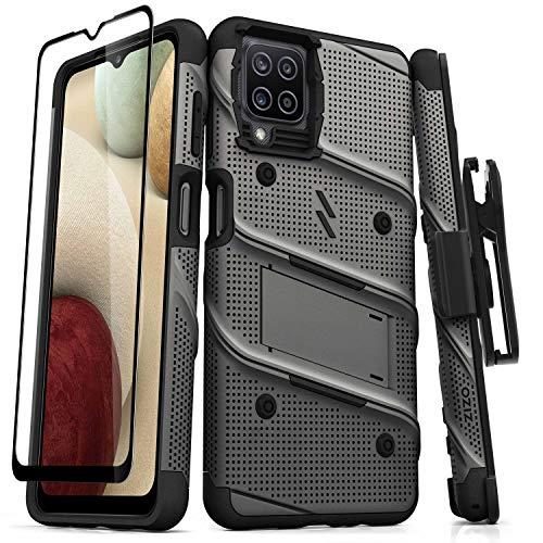 ZIZO Bolt Series for Galaxy A12 Case with Screen Protector Kickstand Holster Lanyard - Gun Metal Gray