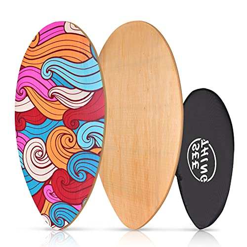 seething 35 Inch Skimboard with High Gloss Coat   Wood Skim Board for Kids, Teenagers, and Adults Iridescent Cloud