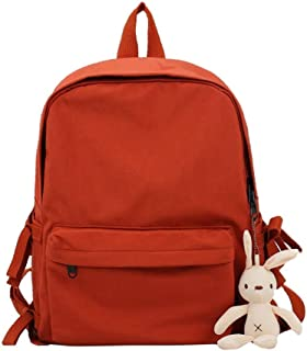 Simple Solid Color Canvas Backpack Travel School Shoulder Bag Daypack (Color : Orange)