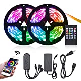 LED Strip Lights, 32.8ft Lights Strip with IR Remote Music Sync APP Control Color Changing RGB Strip Lights Kit Built-in Mic for TV Bedroom Festival DIY Decoration