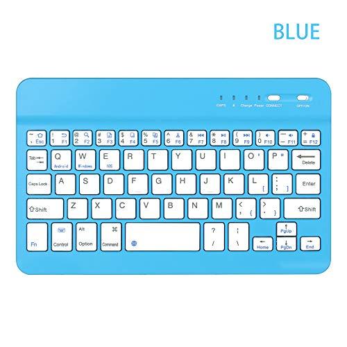 Carryyourlife Ultra Slim Wireless Bluetooth Tastatur 59 Tasten wiederaufladbar tragbar für iOS Android Windows PC blau blau
