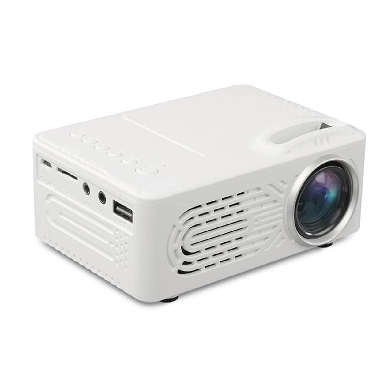 LED Projector - 7000 Lumens 3D 1080P Full HD Mini Portable Home Entertainment Projector, Movie Projectors, Brightness Video Projector, Home Entertainment - 20,000 Hrs - Shipped from US (? White)