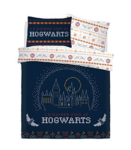Sleepdown Harry Potter Christmas Break Bedding Set Double Reversible Duvet Cover Set and Pillowcase