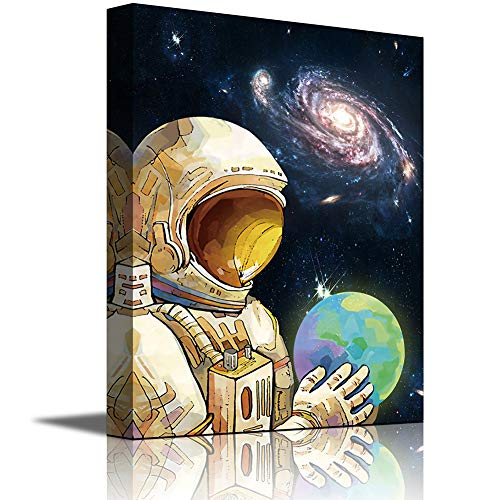 Space Canvas Wall Art Decor Astronaut Exploring Outer Space Print Painting Framed Ready to Hang for Kids Room Child Bedroom Home Decorations (Blue-space, 12'*16')