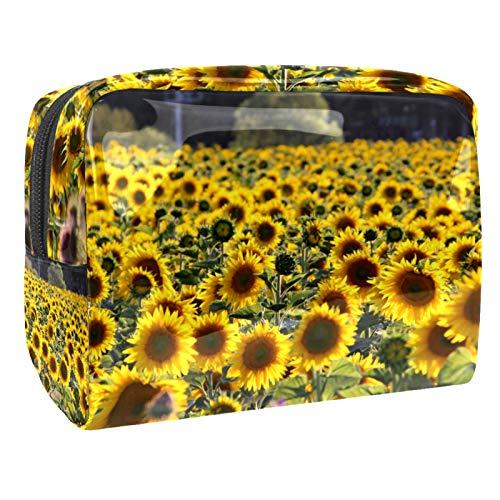 Bolsa de maquillaje portátil con cremallera, bolsa de aseo de viaje para mujeres, práctica bolsa de almacenamiento cosmético, girasol jardín