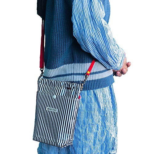 サリーズスティック ワンちゃんの斜め掛けマナーポーチ(大型犬用)紺色ストライプ(ショルダーベルト付き)