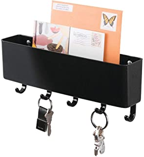 mDesign Wall Mount Plastic Mail Organizer Storage Basket - 5 Hooks - for Entryway, Mudroom, Hallway, Kitchen, Office - Holds Letters, Magazines, Coats, Keys - Black
