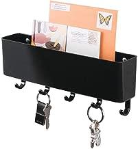 mDesign Mail, Letter Holder, Key Rack Organizer for Entryway, Kitchen - Wall Mount, Black