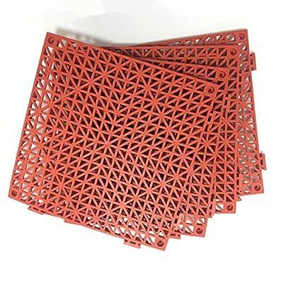 "4pcs Modular Interlocking Cushion 11.5"" x 11.5"" Floor Tile Mat Mats Drain Pool Shower Home Indoor/Outdoor (Red)"