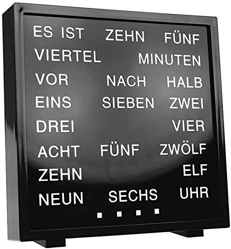 Monsterzeug Tischuhr mit Worten, LED Wortuhr mit Buchstaben, Text Uhr mit Wortanzeige, Wörteruhr mit Textanzeige statt Zahlen
