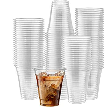 [100 Count] 12 Ounce Crystal Clear PET Cups for Iced Coffee Cold Drinks Slush Smoothy s Slurpee Party s Plastic Disposable Cups
