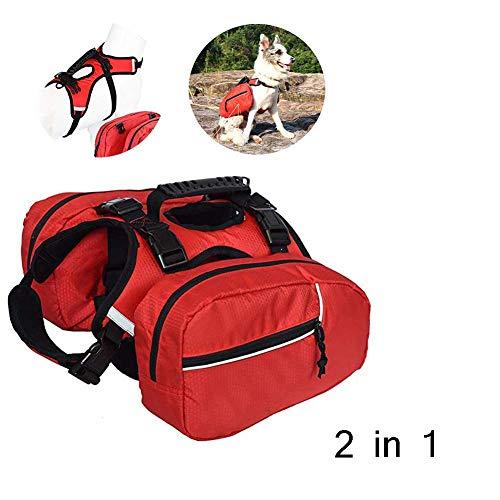 PETHOMEL 2 in 1 Hunderucksack, Hunde-Pack-Wanderausrüstung, Abnehmbare Satteltasche Rucksack Hound Für Die Reise Camping Wandern Medium Große Rassen,Rot,L