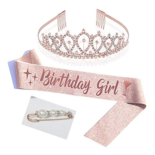 laoonl Tiaras de señora, juego de corona de cumpleaños con faja de diamantes de imitación, 3 piezas de accesorios de celebración de día B para mujer, fiesta, oro rosa