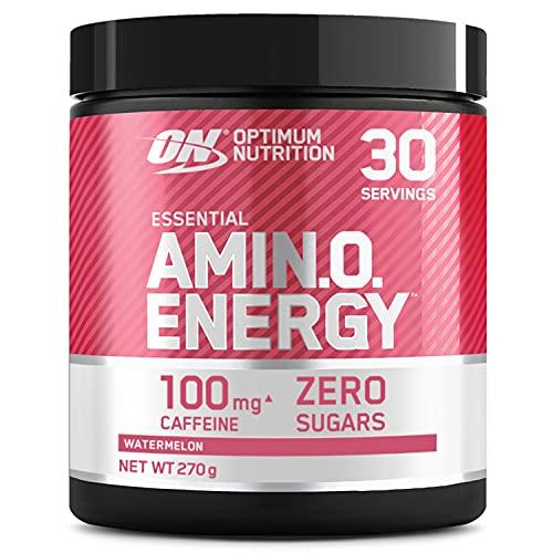 Optimum Nutrition Amino Energy, Pre Workout in Polvere, Energy Drink con Beta Alanina, Vitamina C, Caffeina et Aminoacidi, Anguria, 30 Porzioni, 270g, il Packaging Potrebbe Variare