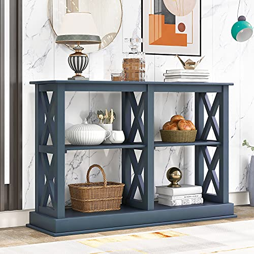 Console Table, Narrow Sofa Entry Table with 3-Tier Open Storage Spaces, X Frame Design Display Rack, Foyer Tables for Living Rooms (Navy Blue)