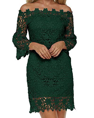 Auxo Damen Schulterfreie Langarm Kleider mit Spitze Elegant Blumen Kurz Abend Etuikleid Grün EU 44/Etikettgröße 2XL