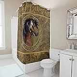 Wandlovers Langlebig Duschvorhang Indianisch Pferde Federn Druck Trendig Bad Duschvorhang mit Plastikringschnallen für Badezimmer white 150x180cm