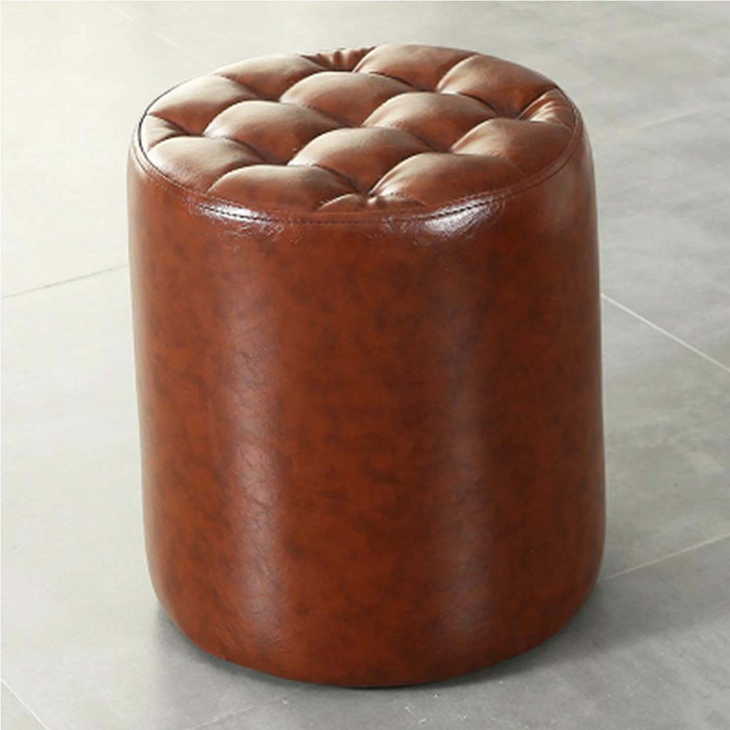 RHHWJJXB Leather Leather Stool Sofa Stool Home Living Room Square Stool Adult shoes Bench Fitting Room Small Leather Stool Stool (color   A)