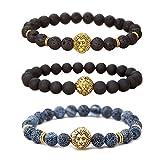 MIKINI Jewelry Lava Rock Matte Agate Natural Onyx Stone Mens Bracelets, Alloy Lion Head, Pack of 3 (Gold Lion Head)