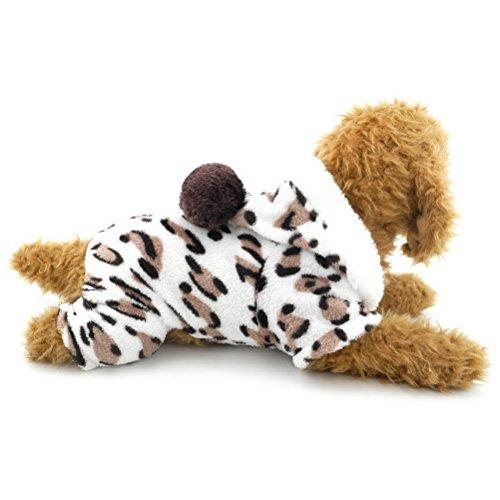 ZUNEA Leopard Terciopelo Suave pequeño Perro Gato Pijama Mono con Capucha de...