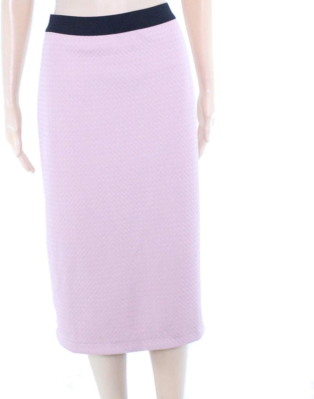 Alfani Womens Gingham Midi Pencil Skirt Pink M