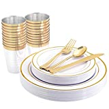 WELLIFE 96 Pcs Gold Plastic Plates, Disposable Gold Silverware and Cups, Gold Dinnerware Set Ideal for Party & Wedding, Includes: 16 Dinner Plates 10.25', 16 Salad Plates 7.5', 16 Cutlery and Cups