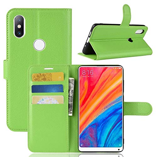 Sangrl Funda para Xiaomi Mi Mix 2S, Billetera Funda Piel PU Flip Folio Carcasa para Xiaomi Mi Mix 2S, Soporte Plegable - Verde