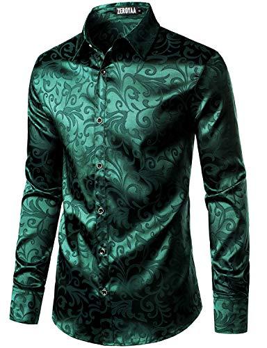 ZEROYAA Men's Luxury Jacquard Long Sleeve Dress Shirt Shiny Satin Slik Like Wedding Party Prom Shirts ZLCL27-Emerald XX-Large