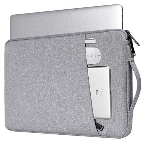 INF Laptoptasche 13.3 Zoll, Computertasche, Etui, wasserdicht, weich gepolstert mit Tragegriff, Canvas, grau