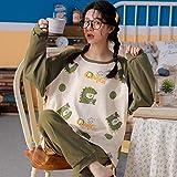 ZXXFR Pijamas de Mujer Cárdigan Estampado de algodón de Manga Larga Conjuntos de Pijama,Pijama Set Mujer 2 Piezas, cómodo y Transpirable Suave Ropa de casa