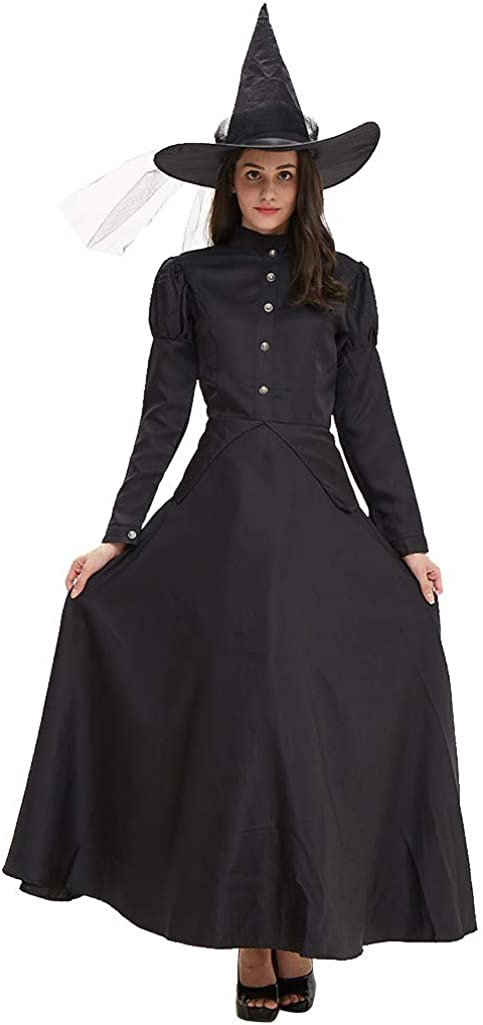 Womens Black Dresses Paded Shoulder Full Sleeve Halloween Witch Cosplay Long Sleeve Dress+Hat Clothes Set Suit