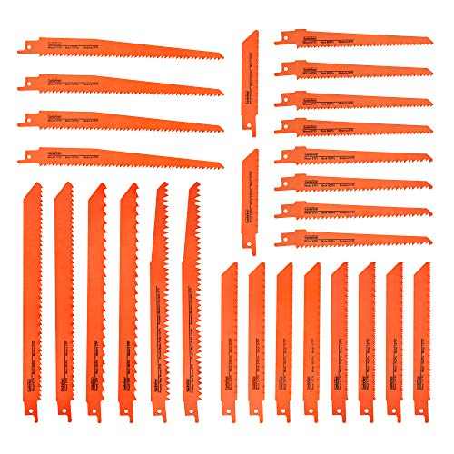 Luckyway 28-Piece Reciprocating Saw Blades Set, Sawzall Saw Blades Set, Pruner Saw Blades Set for Wood Metal Cutting