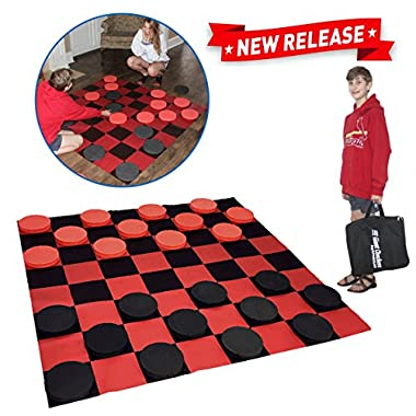 EasyGo Giant Checkers Game – Indoor Outdoor – Family Game – Lawn Game - 5 Feet X 5 Feet