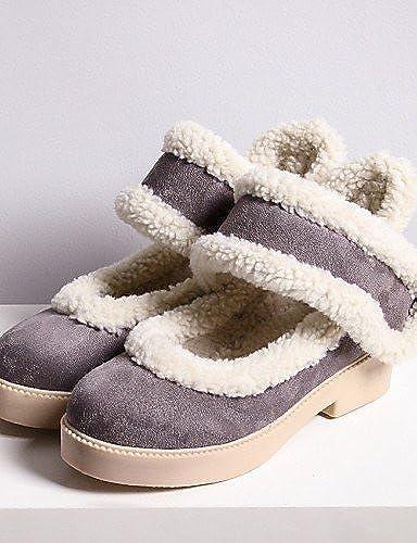 XZZ  Chaussures Femme - Habillé   Décontracté - Argent   gris - Gros Talon - Bottes de Neige   Bout Arrondi - Bottes -Laine synthétique   , argent-us5   eu35   uk3   cn34 , argent-us5   eu35   uk3   cn34