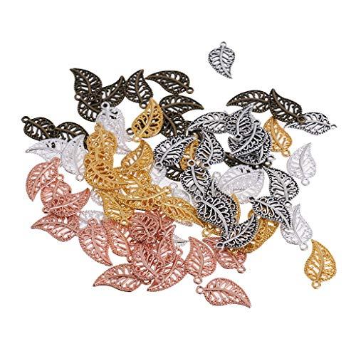 75 Piezas DIY Accesorios Colgante para Hacer Collar - Hoja, Hojas Caladas Accesorios Colgantes, joyería de bricolaje para la pulsera collar pendientes - Plata Antigua,Plata,Oro,Oro Rosa,Bronce