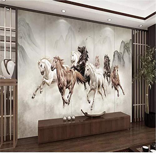QAQB Wallpaper Art Light C Paard Om Succes Acht Paard Kaart Tv Achtergrond Behang Mural Geavanceerd Waterdicht Materiaal