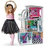 Ricokids XXL Puppenhaus Barbiehaus Puppenstube Puppenvilla Aufzug 3 Etagen Holz Zubehör