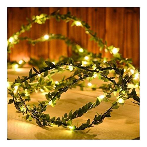 HONGTAI Blanco cálido Hoja Verde Tiny Garland en Copper Wire Secuencia de Hadas Enciende for la Boda del Partido de Navidad Año Warm White, Size : 2m 20leds