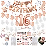 Sweet 16 Birthday Decorations with Photo Booth Backdrop and Pre-assembled Props – Rose Gold Sweet 16 Decorations, 16th Birthday Party Supplies Happy Birthday Banner, Confetti, Balloons Sweet Sixteen