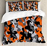 Ambesonne Camo Duvet Cover Set, Vibrant Camouflage Lattice Like Service Theme Modern Design Print, Decorative 3 Piece Bedding Set with 2 Pillow Shams, Queen Size, Orange Black