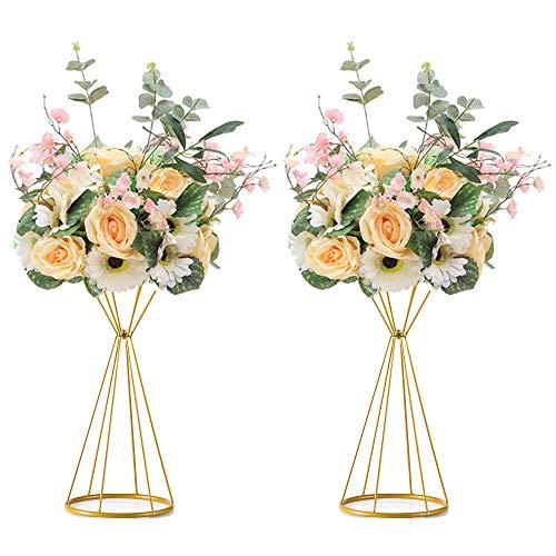 Sziqiqi 2 Piezas Soporte de Columna de Flores de Metal Geométrico para Mesas de Recepción de Bodas, Florero de Plomo de Camino de Flores Artificiales, Centros de Mesa Decoración para Fiestas